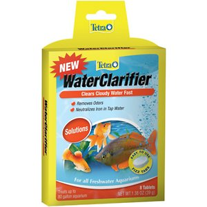 Tetra WaterClarifier Fast Water Clarity Treatment, 8 count; Clear cloudy aquarium water quickly with Tetra WaterClarifier Fast Water Clarity Treatment. Cloudy aquarium conditions are caused by overfeeding, gravel sediment and other particles. Tetra WaterClarifier Fast Water Clarity Treatment clumps these particles together to form larger masses that can be removed during normal filtration or gravel cleaning. It is phosphate free and safe for use in a freshwater aquariums.