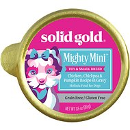 Solid Gold Mighty Mini Chicken, Chickpea & Pumpkin Recipe in Gravy Grain-Free Toy & Small Breed Dog Food Cups, 3.5-oz cup, case of 12