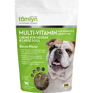 Tomlyn Multi-Vitamin Bacon Flavor Medium & Large Dog Chews, 30 count bag