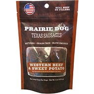 Prairie Dog Texas Sausages Western Beef & Sweet Potato Dog Treats, 4-oz bag