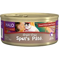 Halo Spot's Pate Ground Chicken & Beef Recipe Grain-Free Canned Cat Food, 5.5-oz, case of 12