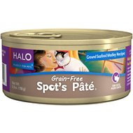 Halo Spot's Pate Ground Seafood Medley Recipe Grain-Free Canned Cat Food, 5.5-oz, case of 12