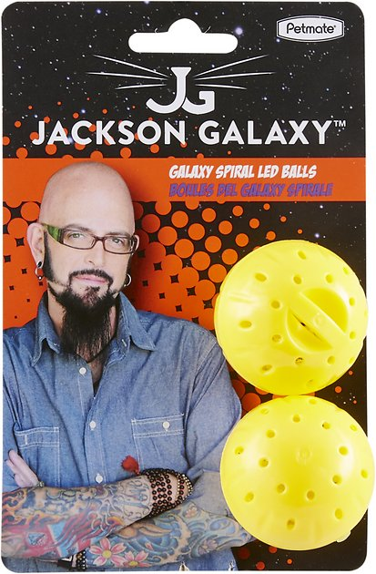 Jackson galaxy spiral galaxy led balls cat toy yellow for Jackson galaxy shop