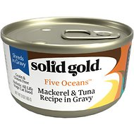 Solid Gold Five Oceans Mackerel & Tuna Recipe in Gravy Grain-Free Canned Cat Food, 6-oz, case of 8