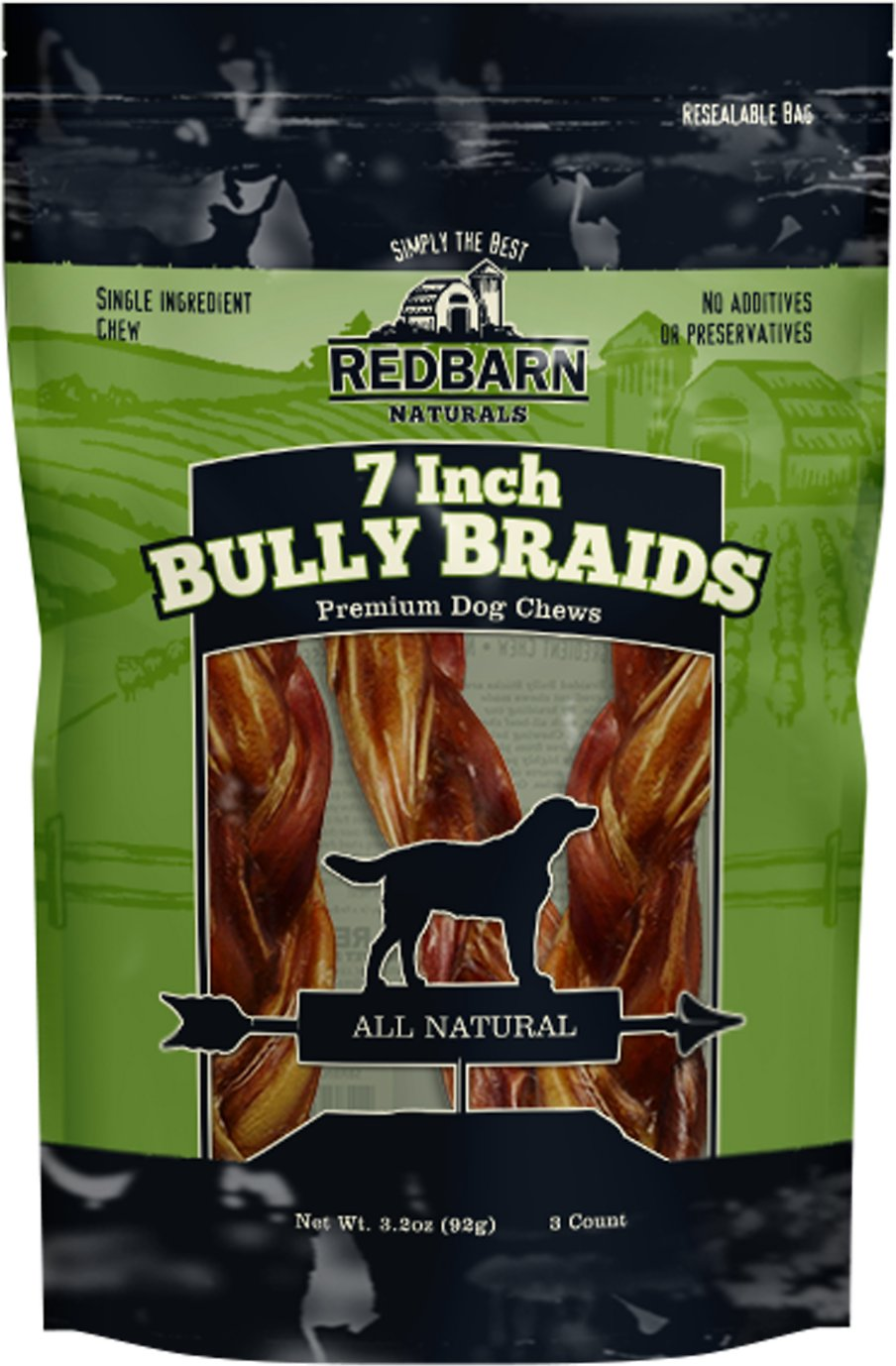redbarn naturals braided bully sticks 7 dog treats 3 count. Black Bedroom Furniture Sets. Home Design Ideas