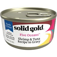 Solid Gold Five Oceans Shrimp & Tuna Recipe in Gravy Grain-Free Canned Cat Food, 3-oz, case of 12