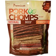 Premium Pork Chomps Munchy Sticks Dog Treats, 50 count