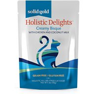 Solid Gold Holistic Delights Creamy Bisque with Chicken & Coconut Milk Grain-Free Cat Food Pouches, 3-oz, case of 12