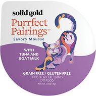 Solid Gold Purrfect Pairings Savory Mousse with Tuna & Goat Milk Grain-Free Cat Food Cups, 2.75-oz, case of 6