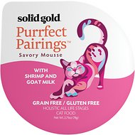 Solid Gold Purrfect Pairings Savory Mousse with Shrimp & Goat Milk Grain-Free Cat Food Cups, 2.75-oz, case of 6
