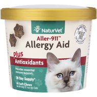 NaturVet Aller-911 Allergy Aid Plus Antioxidants Cat Soft Chews, 60 count