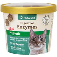 NaturVet Digestive Enzymes Plus Probiotics Cat Soft Chews, 60-count