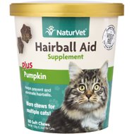 NaturVet Hairball Aid Supplement Plus Pumpkin Cat Soft Chews , 100 count