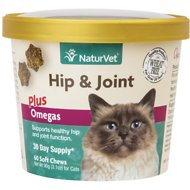 NaturVet Hip & Joint Plus Omegas Cat Soft Chews, 60 count