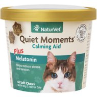 NaturVet Quiet Moments Calming Aid Plus Melatonin Cat Soft Chews, 60 count