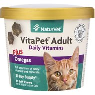 NaturVet VitaPet Adult Daily Vitamins Plus Omegas Cat Soft Chews, 60-count