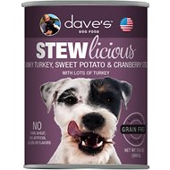Dave's Pet Food Stewlicious Grain-Free Chunky Turkey, Sweet Potato & Cranberry Stew Canned Dog Food, 13-oz, case of 12