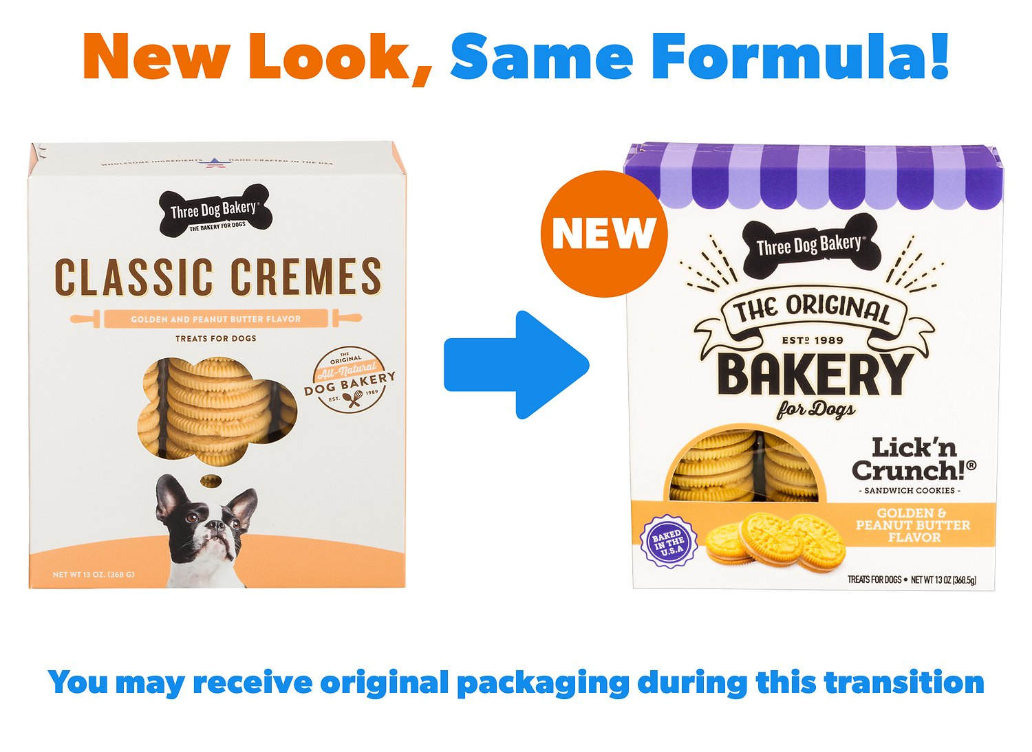 Three Dog Bakery Classic Cremesgolden Cookies With Natural Peanut Butter  Flavor Filling Dog Treats