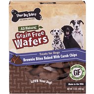 Three Dog Bakery Grain-Free Wafers Brownie Bites Baked with Carob Chips Dog Treats, 13-oz box