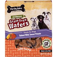 Three Dog Bakery Grain-Free Wafers Baked with Sweet Potato Dog Treats, 13-oz box
