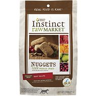 Instinct by Nature's Variety Raw Market Grain-Free Beef Recipe Nuggets Freeze-Dried Dog Food, 14-oz bag