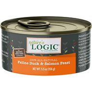 Nature's Logic Feline Duck & Salmon Recipe Canned Cat Food, 5.5-oz, case of 24