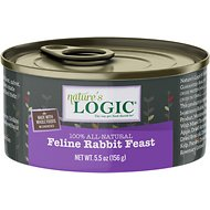 Nature's Logic Feline Rabbit Feast Grain-Free Canned Cat Food, 5.5-oz, case of 24