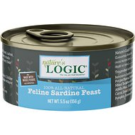 Nature's Logic Feline Sardine Feast Grain-Free Canned Cat Food, 5.5-oz, case of 24
