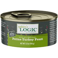 Nature's Logic Feline Turkey Feast Grain-Free Canned Cat Food, 5.5-oz, case of 24