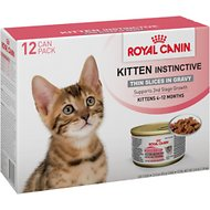 Royal Canin Kitten Instinctive Thin Slices in Gravy Canned Cat Food, 3-oz, case of 12