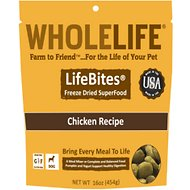 Whole Life LifeBites Chicken Recipe Grain-Free Freeze-Dried Dog Food, 16-oz bag