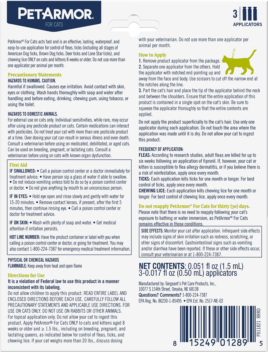 PetArmor Flea & Tick Squeeze Treatment for Cats & Kittens Over