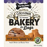 Three Dog Bakery Woofers Peanut Butter & Banana Flavor Grain-Free Dog Treats, 13-oz bag