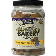 Three Dog Bakery Soft Meaty Chicken Flavor and Apples Dog Treats, 25-oz jar