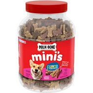 Milk-Bone Mini's Flavor Snacks Beef, Chicken & Bacon Flavored Biscuit Dog Treats, 36-oz tub