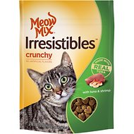 Meow Mix Irresistibles Crunchy Tuna & Shrimp Cat Treats, 2.5-oz bag
