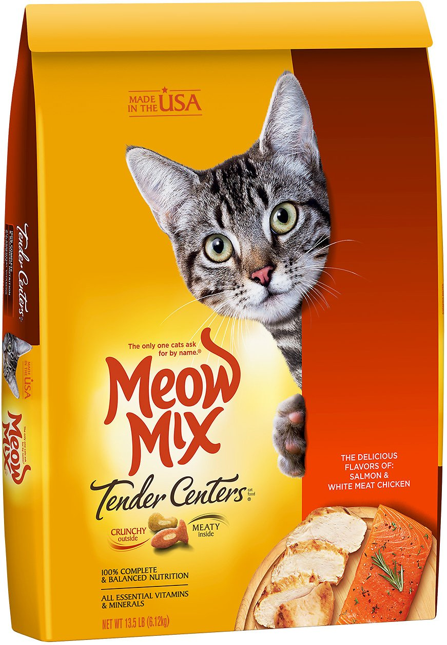 Meow Mix Tender Centers Salmon White Meat Chicken Dry Cat Food