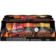 ALPO Chop House Filet Mignon & Bacon and Roasted Chicken & Top Sirloin Flavors Savory Juices Canned Dog Food, 13.2-oz, case of 12