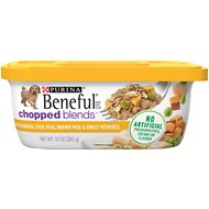 Purina Beneful Chopped Blends with Chicken, Liver, Peas, Brown Rice & Sweet Potatoes Wet Dog Food, 10-oz container, case of 8