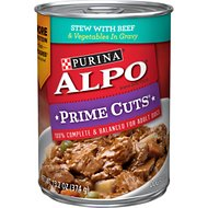 ALPO Prime Cuts Stew with Beef & Vegetables in Gravy Canned Dog Food, 13.2-oz, case of 12