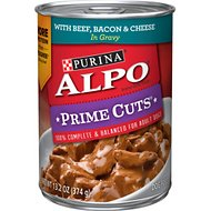 ALPO Prime Cuts with Beef, Bacon & Cheese in Gravy Canned Dog Food, 13.2-oz, case of 12