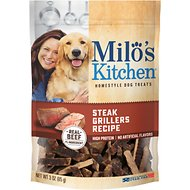 Milo's Kitchen Steak Grillers Recipe with Angus Steak Dog Treats, 3-oz bag