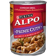 ALPO Prime Cuts London Grill & Wholesome Veggie Accents in Gravy Canned Dog Food, 13.2-oz, case of 12