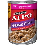 ALPO Prime Cuts with Turkey & Bacon in Gravy Canned Dog Food, 13.2-oz, case of 12