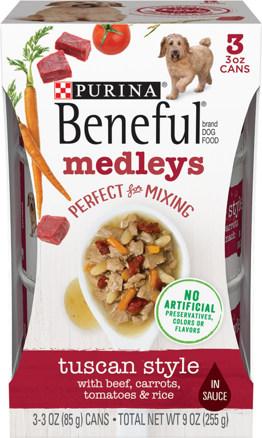4aa7f380dab Purina Beneful Medleys Tuscan Style Canned Dog Food, 3-oz, pack of 3 ...