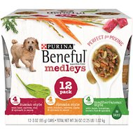Purina Beneful Medleys Tuscan, Romana & Mediterranean Style Variety Pack Canned Dog Food, 3-oz, case of 12