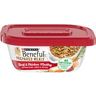 Purina Beneful Prepared Meals Beef & Chicken Medley with Green Beans, Carrots & Wild Rice Wet Dog Food, 10-oz, case of 8