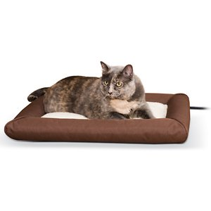 K&H Pet Products Deluxe Lectro-Soft Outdoor Heated Bolster Cat & Dog Bed, Small
