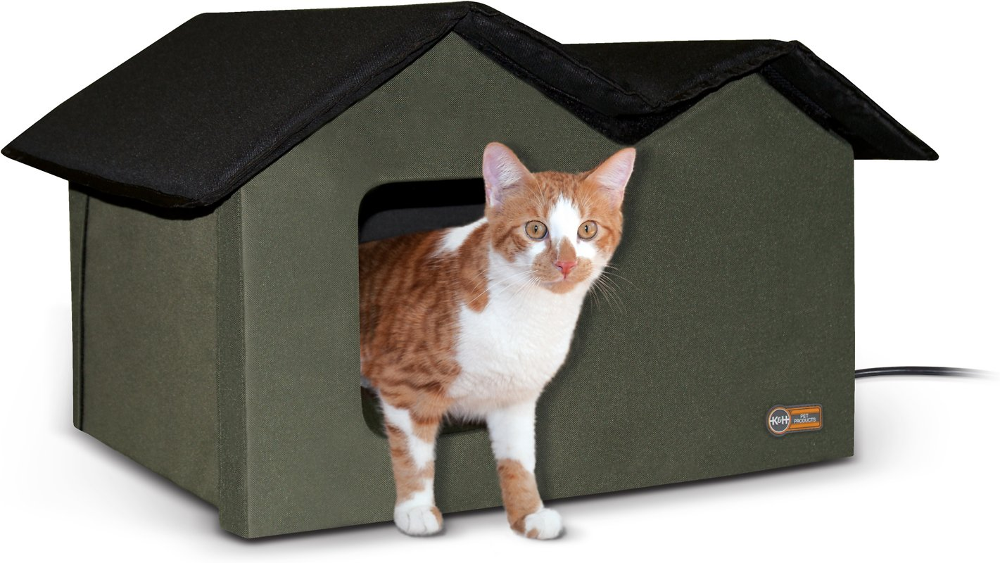 K H Pet Products Extra Wide Outdoor Heated Kitty House Olive Black Chewy Com