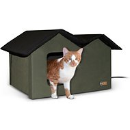 K&H Pet Products Extra-Wide Outdoor Heated Kitty House, Olive/Black